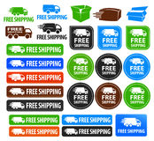 Free Shipping Badges. A set of free shipping icons and buttons with different shapes and colors. Includes truck and van icons and different color variations ( Royalty Free Stock Photography