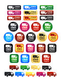 Free Shipping Badges Set. Large set of shipping badges and icons Stock Images