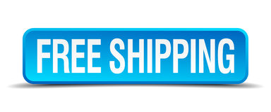 Free shipping blue 3d realistic square button. Free shipping blue 3d realistic square isolated button Royalty Free Stock Photos
