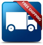 Free shipping blue square button red ribbon in corner. Free shipping isolated on blue square button with red ribbon in corner abstract illustration Royalty Free Stock Image