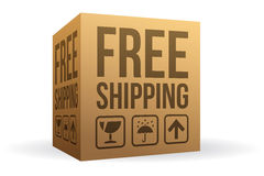 Free Shipping Box. With shadow Stock Photos