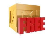 Free shipping box. Free shipping golden box isolated on white background Royalty Free Stock Image