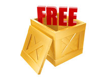 Free shipping box. Free shipping golden box isolated on white background Stock Photography