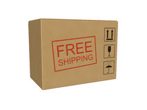 Free shipping box isolated on the white background Stock Photo