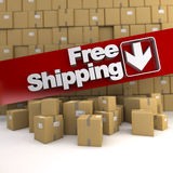 Free shipping, box wall Royalty Free Stock Images