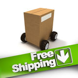 Free shipping, box on wheels Stock Image