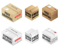 Free Shipping Boxes Royalty Free Stock Photography