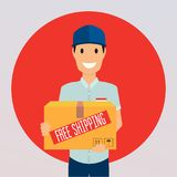 Free shipping business concept. Delivery man with a box. Stock Images