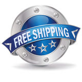 Free shipping. Button with free shipping and courier vector illustration