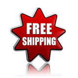Free shipping in red star banner Royalty Free Stock Photography
