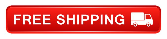 Free shipping button. Vector illustration of free shipping icon red web button on white background stock illustration