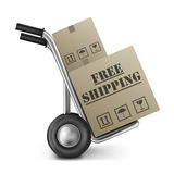 Free shipping cardboard box. Free shipping brown cardboard box delivery of online internet shopping orders in a brown package on a hand truck vector illustration