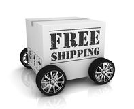 Free shipping cardboard box concept 3d illustration Royalty Free Stock Photo
