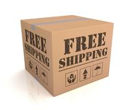 Free shipping cardboard box concept illustration. Free shipping 3d illustration isolated on white background Royalty Free Stock Images