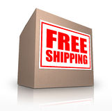 Free Shipping Cardboard Box Ship No Cost. A cardboard box on an angle with a sticker reading Free Shipping telling you that you can ship your ordered merchandise vector illustration