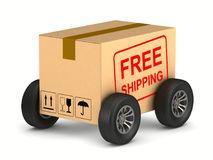 Free shipping cargo box with wheel on white background. Isolated. 3D illustration Stock Image