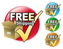 Free Shipping Circle. A free shipping icon in four different colors to choose from. The icon has a cardboard box with a check mark by it Royalty Free Stock Photo