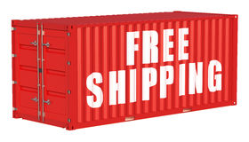 Free shipping concept with cargo container Stock Photo