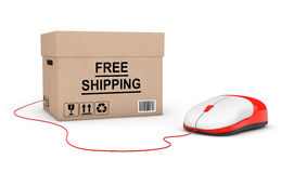 Free shipping Concept. Free Shipping Box connected to a Computer Stock Images