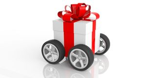 Gift with red ribbon on wheels, white background. 3d illustration. Free shipping concept. Gift with red ribbon on wheels, isolated on white background. 3d Stock Images