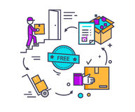 Free Shipping Concept Icon Flat Design Royalty Free Stock Photography