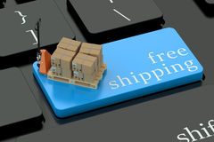 Free Shipping concept on keyboard button Royalty Free Stock Image