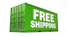 Free shipping container isolated on white Royalty Free Stock Image
