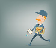 Free shipping. Courier delivering a package Royalty Free Stock Image