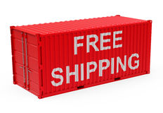 Free shipping. 3d generated picture of a free shipping container stock illustration