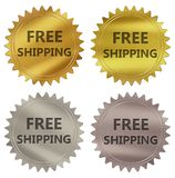 Free shipping guarantee label. Free shipping 3d rendered 4 color tag , golden guarantee label Royalty Free Illustration
