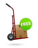 Free shipping and delivery. Illustration of delivery cart with package upon and free sticker Royalty Free Stock Image