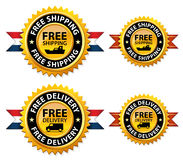 Free shipping or delivery medals, sign, icon Stock Photography