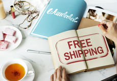 Free Shipping Delivery Service Sign Concept Royalty Free Stock Images