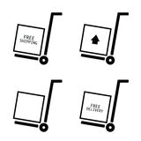 Free shipping and delivery set trolley vector Stock Photography