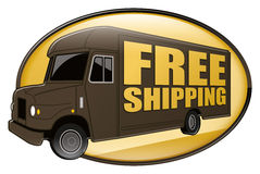 Free Shipping Delivery Truck Brown. Brown delivery van or truck icon or badge with gold free shipping text and motion blur Royalty Free Stock Photo