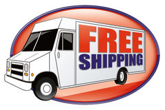 Free Shipping Delivery Truck White. White delivery van or truck icon or badge with orange and purple free shipping text and motion blur Royalty Free Stock Images