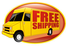 Free Shipping Delivery Truck Yellow Royalty Free Stock Photography