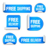 Free Shipping and Free Delivery Labels Stock Photo
