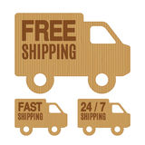 Free Shipping and Free Delivery Labels. Set of free shipping and free delivery cardboard car labels stock illustration
