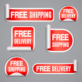 Free Shipping and Free Delivery Labels. Set of free shipping and free delivery red labels or stickers stock illustration