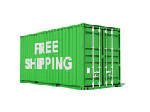 Free shipping. Green cargo container isolated on white Royalty Free Stock Photos