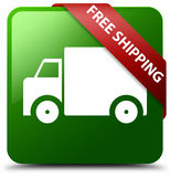 Free shipping green square button. Reflecting shadow with red ribbon in corner royalty free illustration