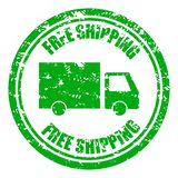 Free shipping guarantee rubber stamp with lorry royalty free stock images