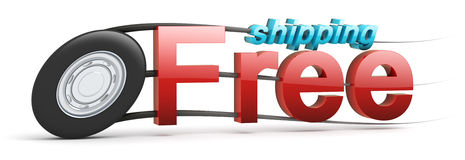 Free shipping icon with text - Speeding wheel Stock Images