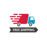 Free shipping icon vector, truck moving fast and free shipping text label, fast delivery badge isolated on white Stock Photo