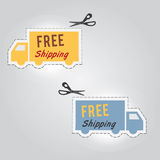 Free Shipping icons. Auto blue and yellow car with scissors Royalty Free Stock Photos