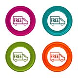 Free Shipping icons. Shipping signs. Delivery symbol. Colorful web button with icon. Eps10 Vector Illustration