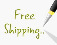 Free Shipping Indicates With Our Compliments And Delivery Stock Photo