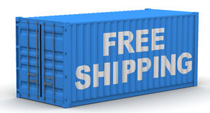 Free shipping. Inscription on the cargo container Royalty Free Stock Image