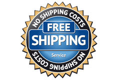 Free Shipping Label. A golden Free Shipping Label Royalty Free Stock Photo